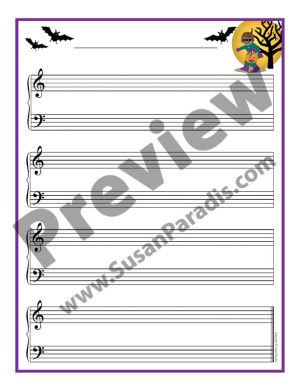 Cute Halloween staff paper for student composing.