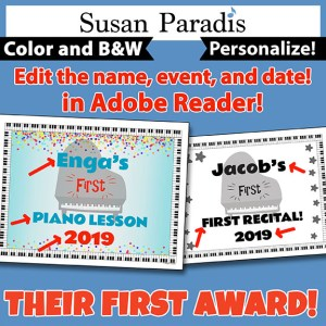 Editable award to give to students at their first lesson, first recital, or any other first-time event.