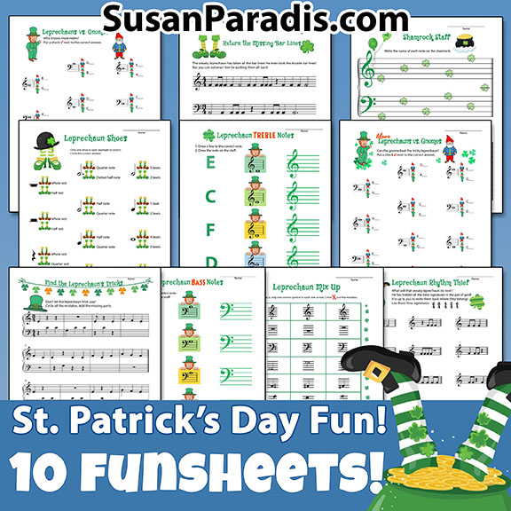 St. Patrick's Day Fun Sheets! - Susan Paradis Piano Teaching Resources
