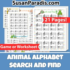 Animal Alphabets Search & Find to identify notes.