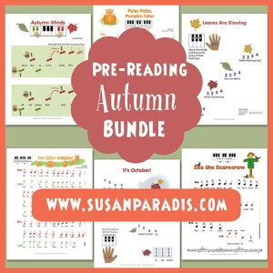 Autumn themed pre-reading music for beginners.