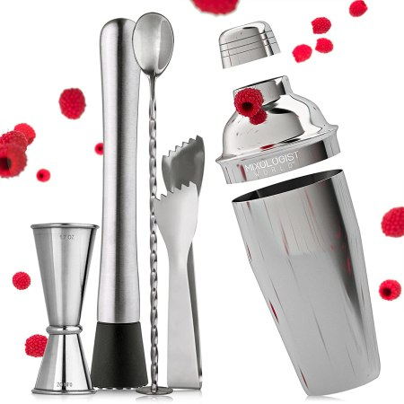 Cocktail Shaker with a built-in strainer lid, a Mixing Bar Spoon, a double size measuring Jigger Tool, plus an Illustrated Guide with many Cocktail Recipes
