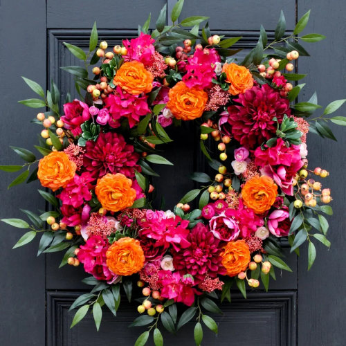 Vibrant spring wreath adds charm to your entrance