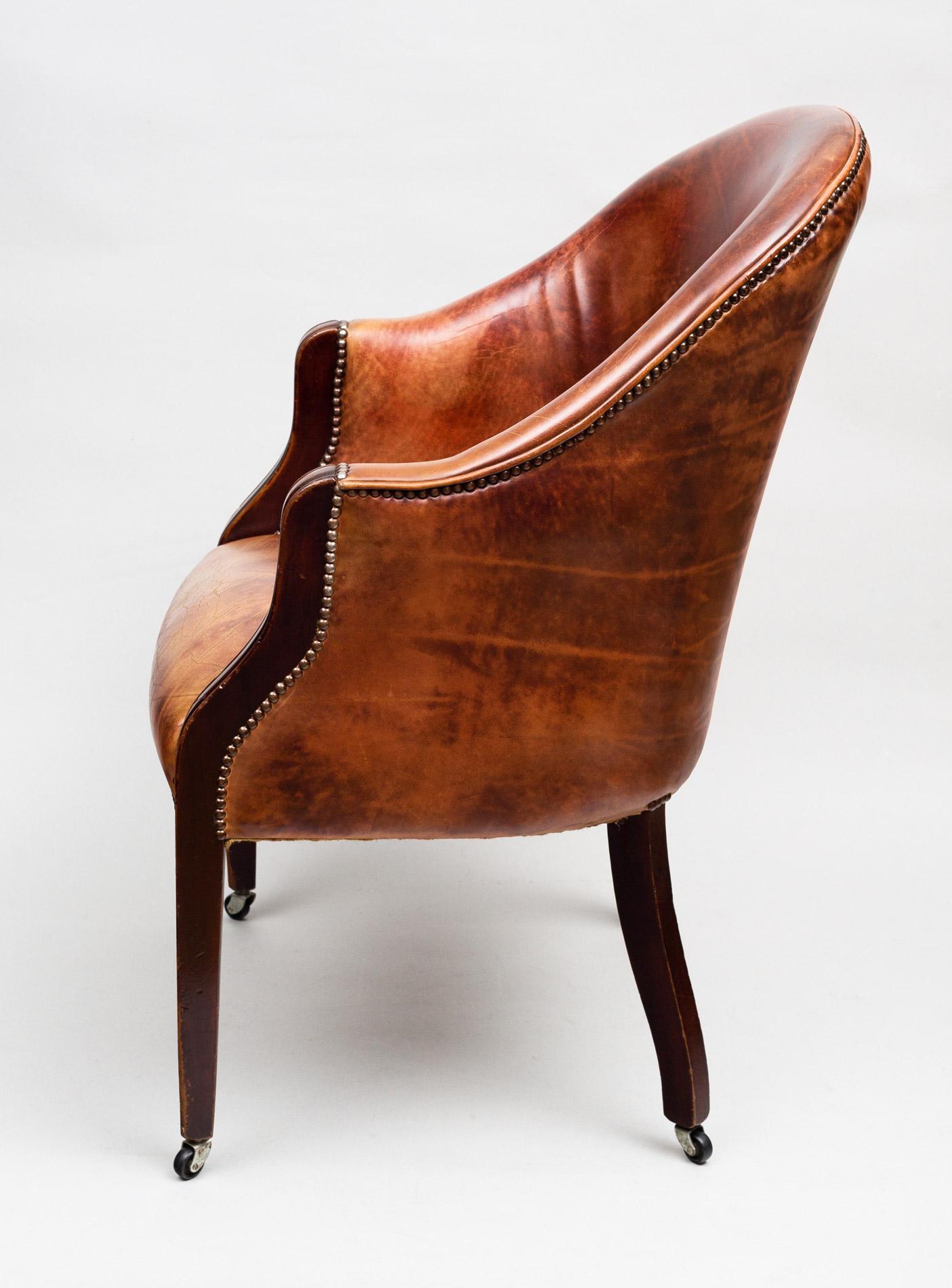 Antique Edwardian Tub Chair Antique Mahogany Leather Tub