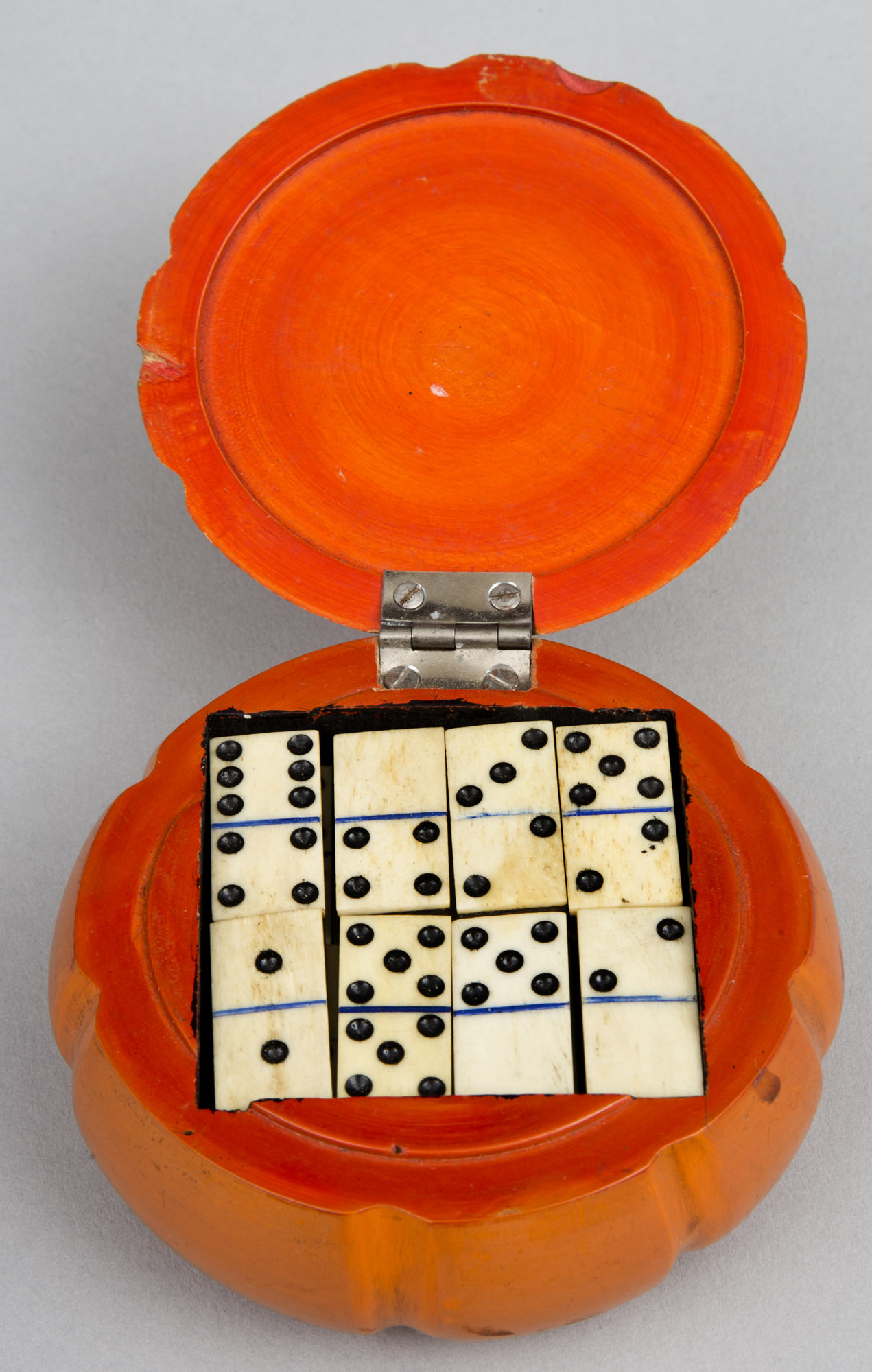 Antique English Melon Shaped Domino Box Circa 1880