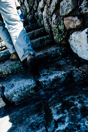 Climbing stairs to Whiteface Mountain