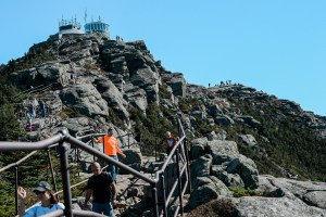 Railings and steps leading to the summit of Whiteface Mountain