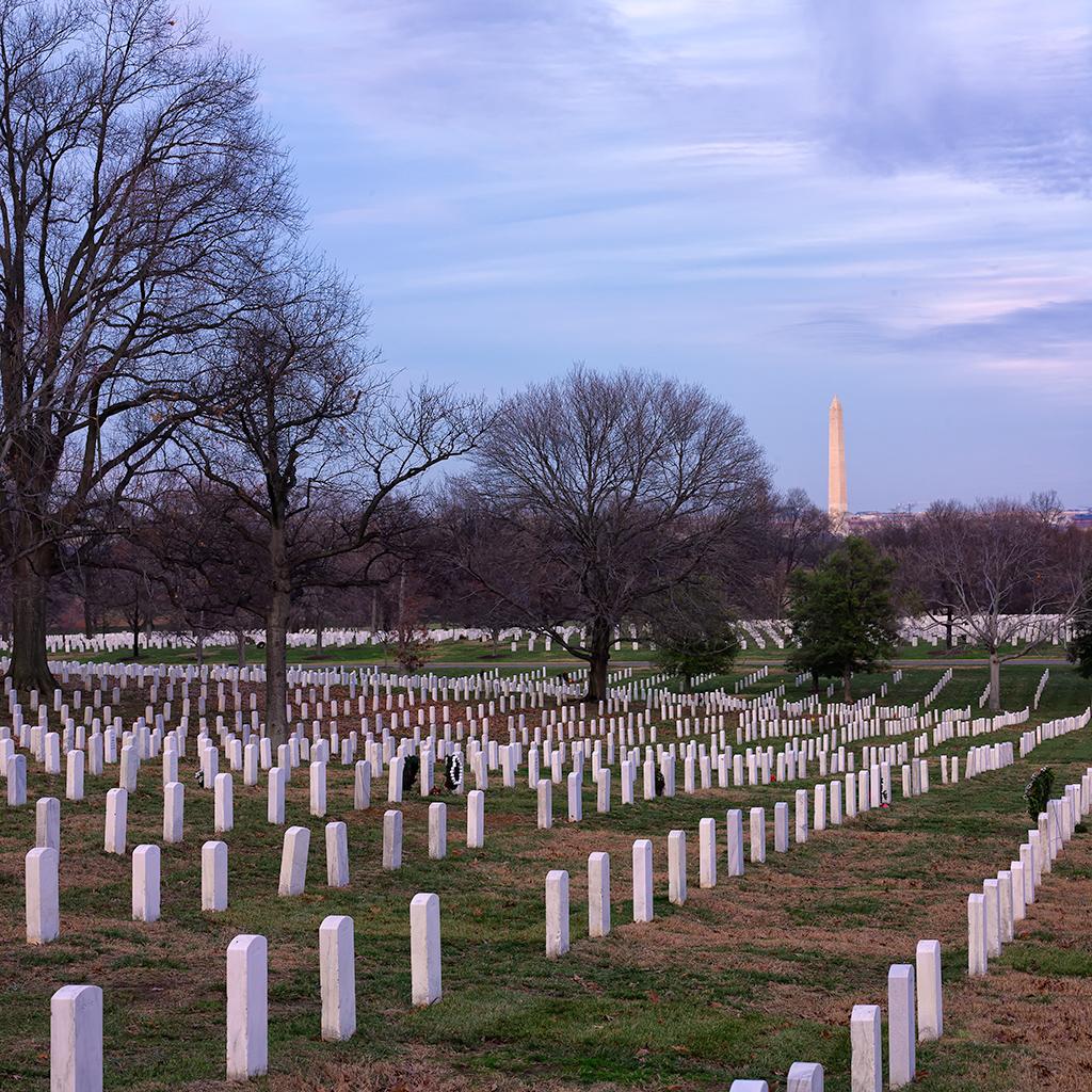 Arlington National Cemetery And Washington Monument By