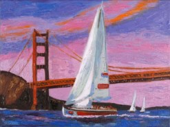 Sailboats wtih Golden Gate print by Susan Sternau