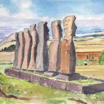 Moai at Ahu Akivi, by Susan Sternau from Easter Island Sketchbook