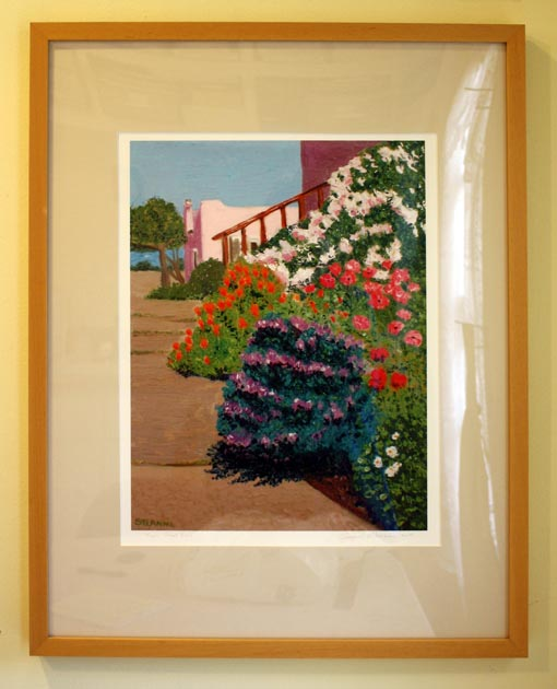 Napa Street View, front of framed giclee print by Susan Sternau