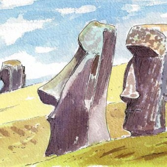 Two Heads at Quarry by Susan Sternau from Easter Island Sketchbook