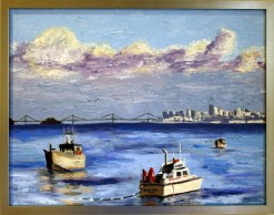 herring-boats-oil-by-susan-sternau-framed