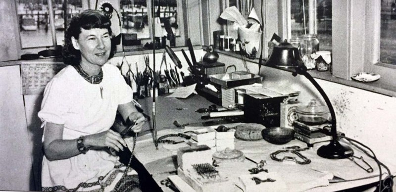 Loyola Fourtane in her studio on the SS Lassen floating art colony