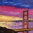 Bridge with Pink and Purple Clouds Mini Oil by Susan Sternau