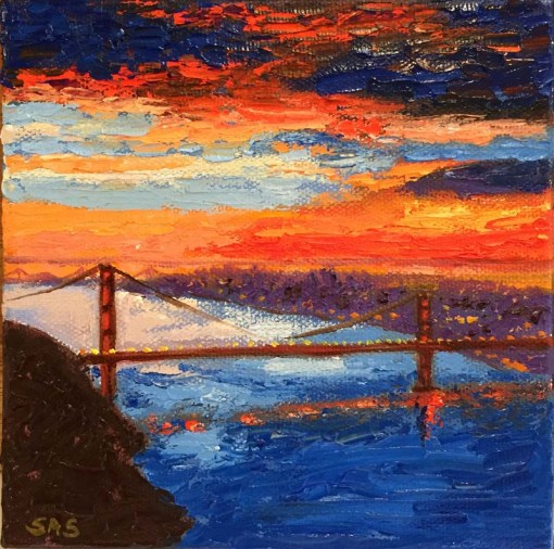 Night City from Above Mini Oil by Susan Sternau