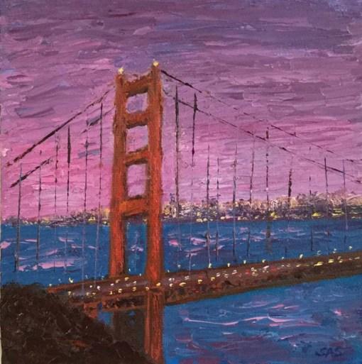 Pink Sky and Red Bridge Mini Oil by Susan Sternau