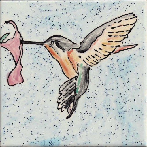 Ruby Throated Hummingbird Tile by Susan Sternau