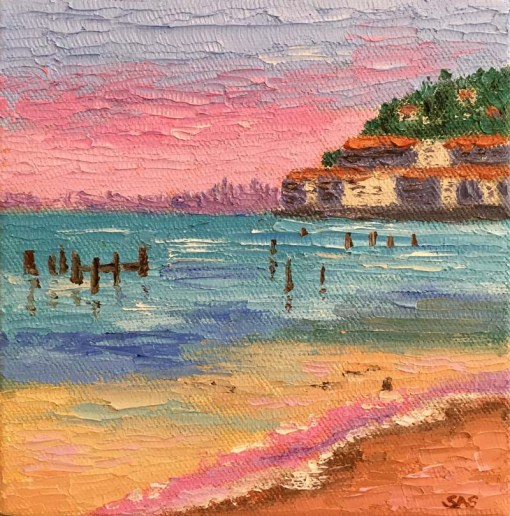 Sausalito with Beach Mini Oil by Susan Sternau
