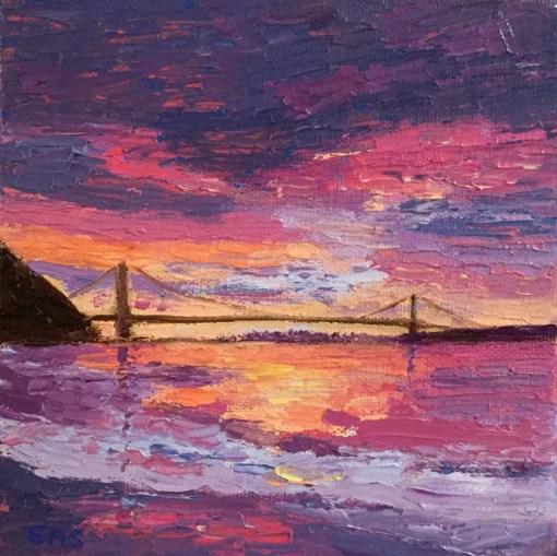 Sunrise Bridge with Pink Clouds Mini Oil by Susan Sternau