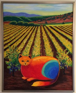 Wine Country Cat 1 Oil Painting framed by Susan Sternau