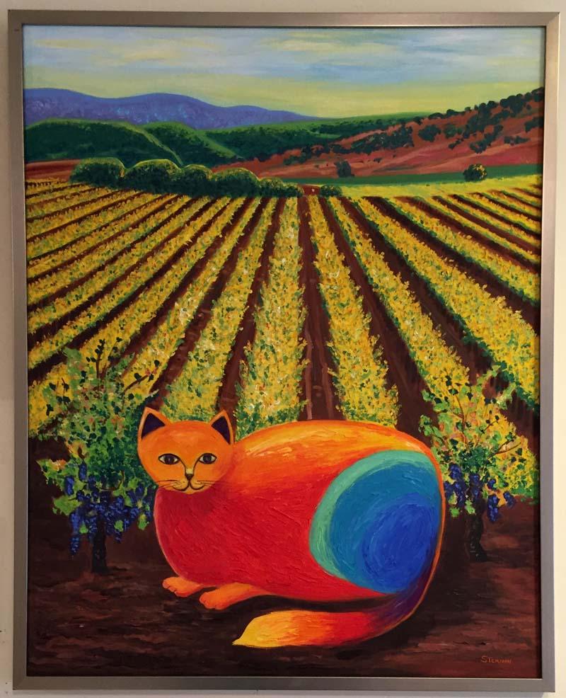 Wine Country Cat 1 Oil Painting – Susan Sternau Studios