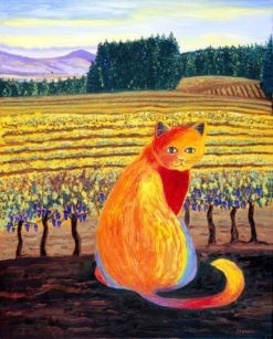 Wine Country Cat 2 oil painting by Susan Sternau