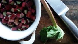 The makings of rhubarb crumble