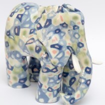Ceramic patterned elephant inspired by 1930s fabric design