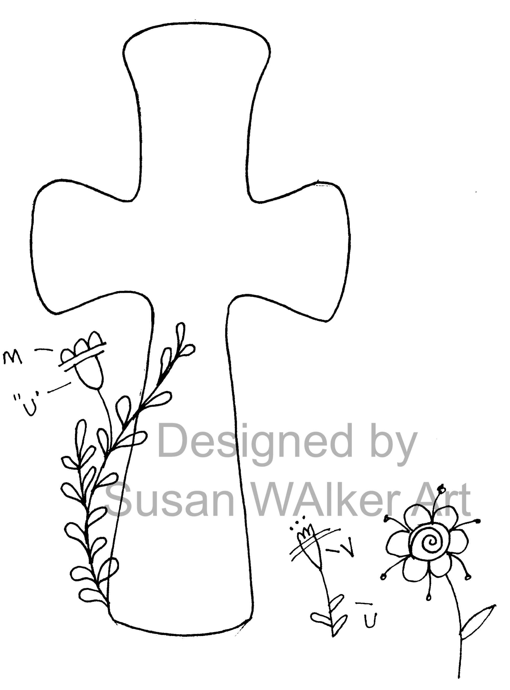 photo regarding Cross Template Printable named Floral,Rounded Cross Bible Artwork Journaling Template Printable (Replica)