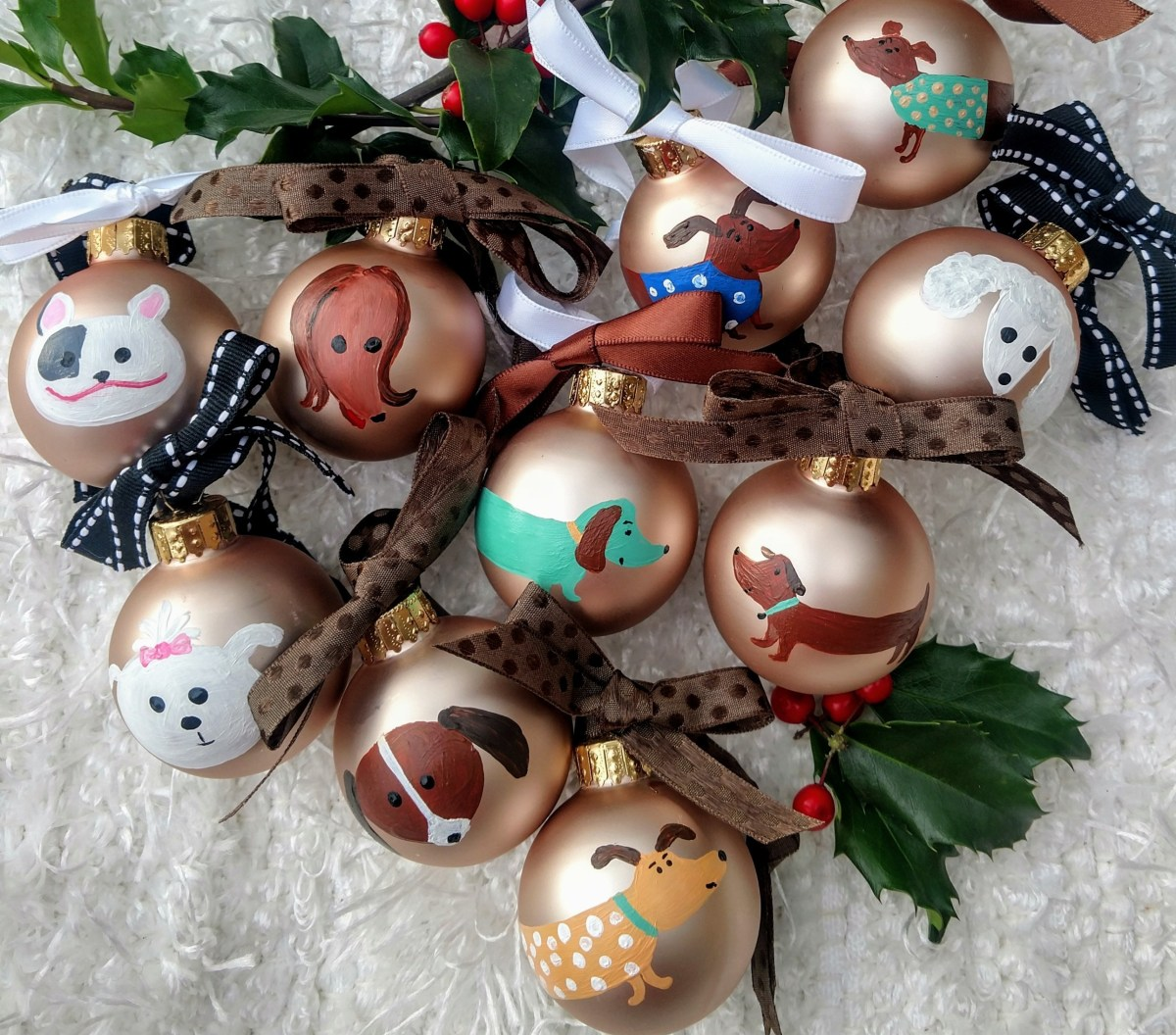 Hand Painted Glass ornaments by Susan Walker Art, pets/dogs