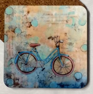 Never Forget Coaster Blue Bike by Susan Walker