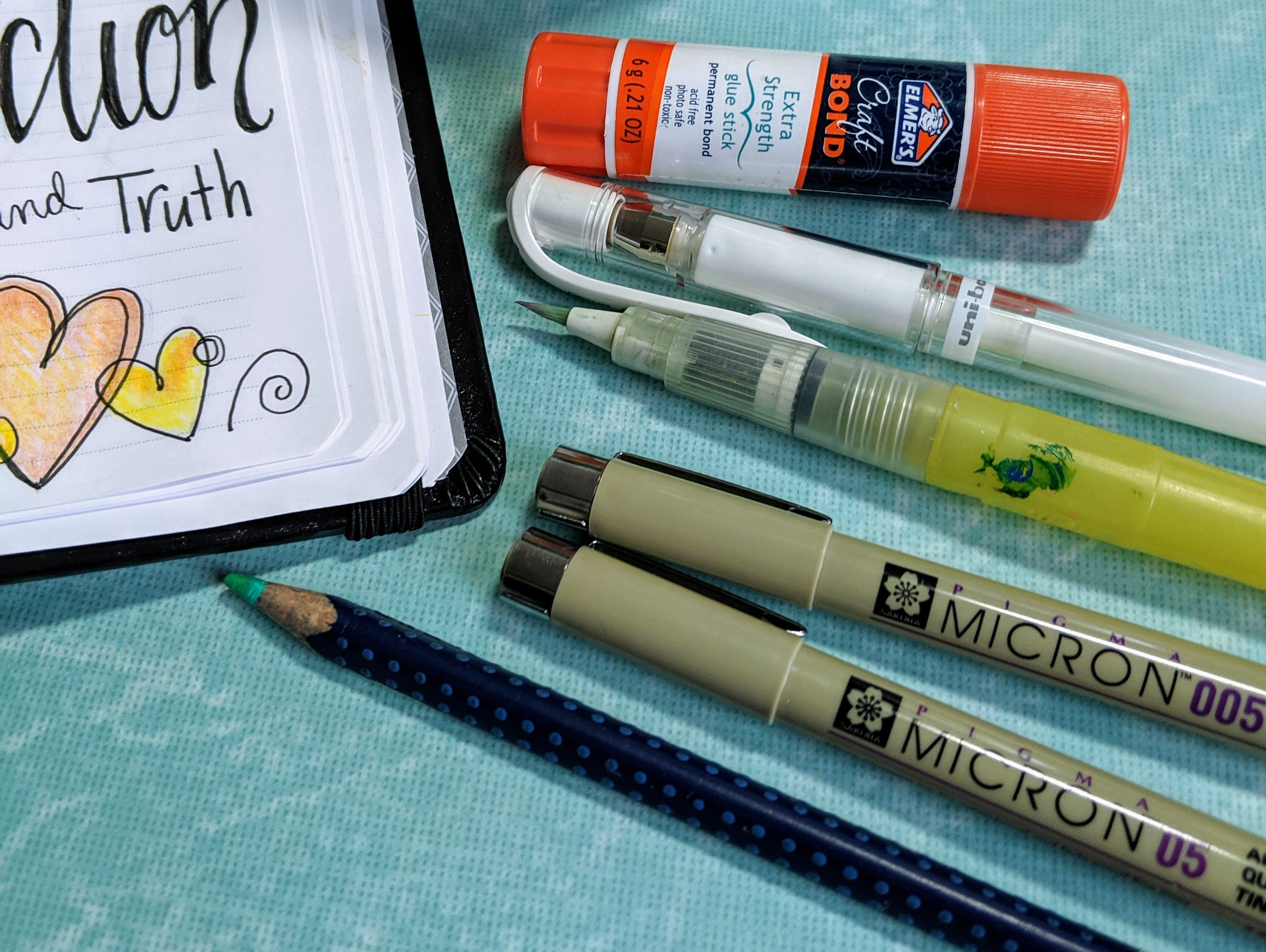 Simple materials to get started with Bible Art Journaling