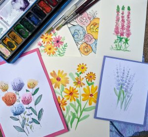 Easy watercolor painting class for you to creat charming flowers.