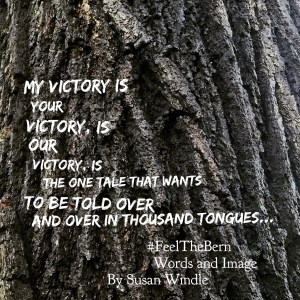"my-victory""My Victory is Your Victory"" Words on tree trunk by Susan Windle, an image brought brought forward from the days of the 2016 presidential primary."