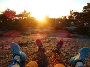 Sonnenuntergang auf dem Felsen