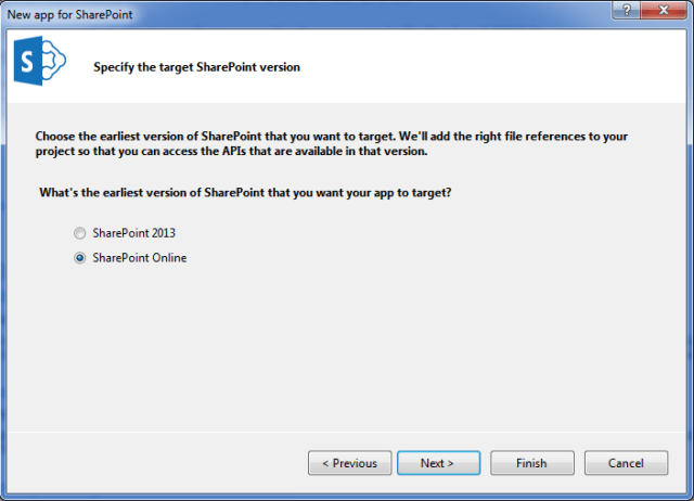 Select the SharePoint version