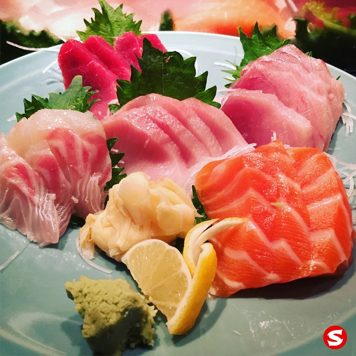 maguro (tuna), cobia (finfish), hamachi (yellowtail), kanpachi (amber jack), sake (salmon) sashimi