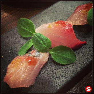 shima aji (stripped jack, white trevally) sashimi