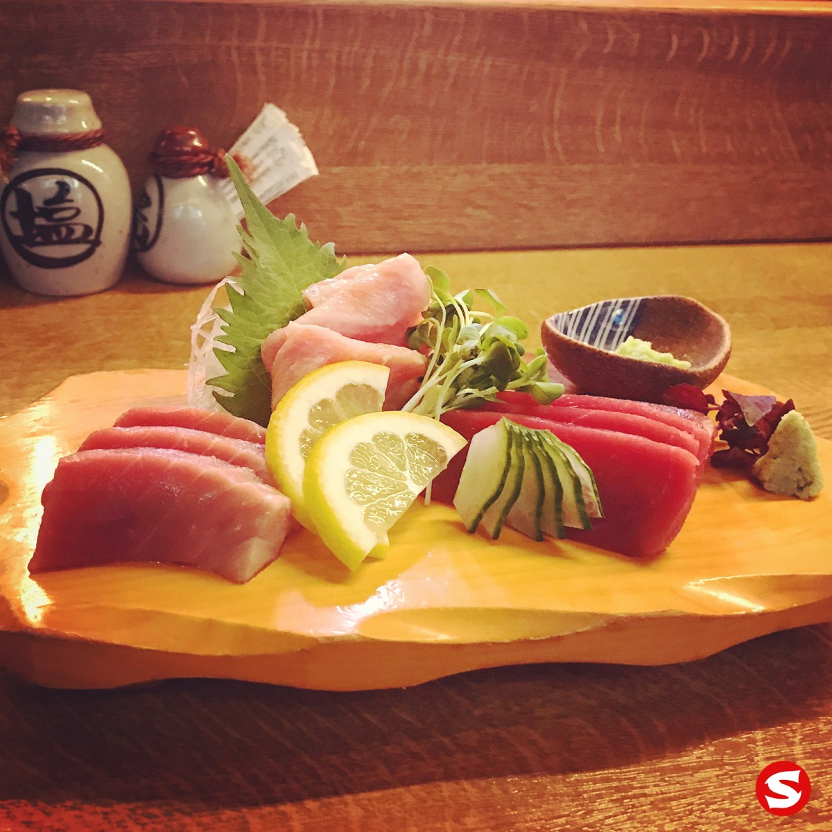 chu toro (bluefin medium fatty tuna belly), o toro (bluefin fatty tuna belly), maguro (bluefin tuna back) sashimi
