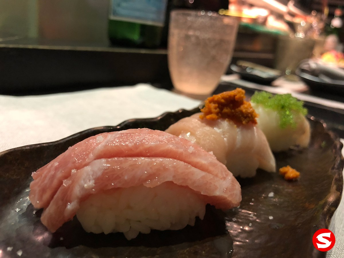 toro (bluefin fatty tuna belly), hamachi (yellowtail), suzuki (sea bass) nigiri