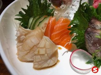 seared ibodai (butterfish), sake (salmon) sashimi
