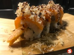 ebi (shrimp) tempura (fried), sake (salmon) maki