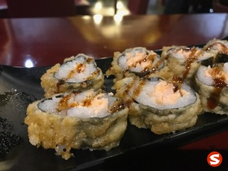 sake (salmon) maki (roll) tempura (deep fried)