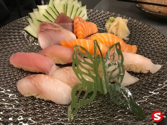 hamachi (yellowtail), maguro (tuna back), sake (salmon) sashimi, maguro (tuna back), sake (salmon), suzuki (sea bass), tai (sea bream) nigiri plate