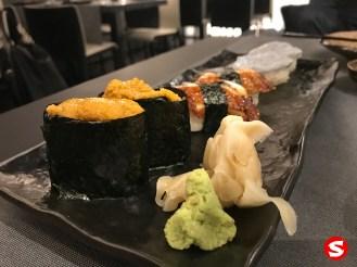 uni (sea urchin) gunkan, unagi (freshwater eel), blue ebi