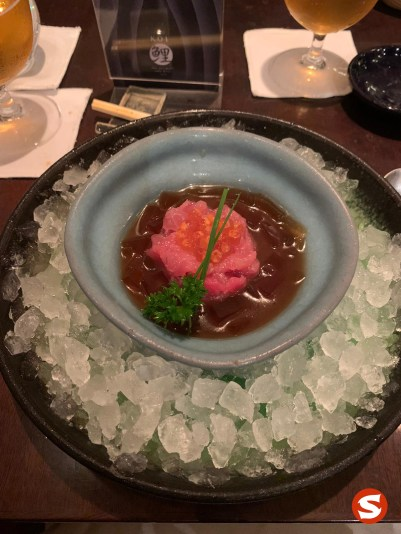 maguro (tuna back) tartare with ikura topping