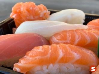 maguro (tuna back), suzuki (sea bass), sake (salmon) nigiri