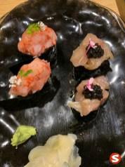 mazara ebi (shrimp) and hamachi (yellowtail) with caviar gunkan with wasabi