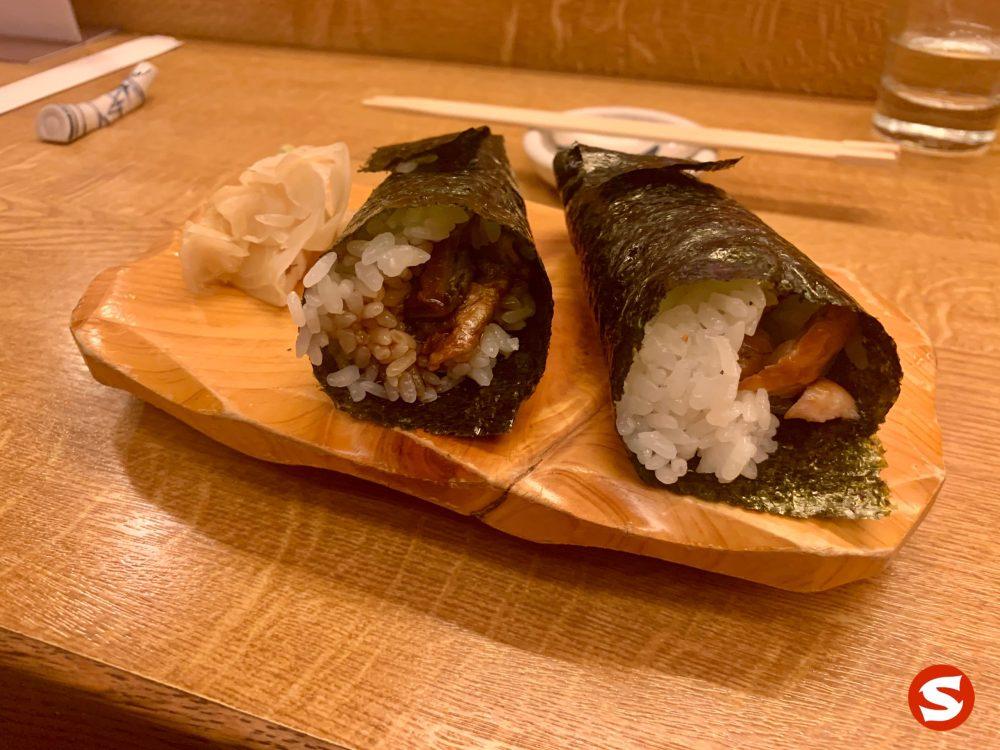 sake cava temaki (handroll with grilled salmon skin)